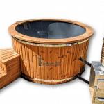 Vildmarksbad i glasfiber 180cm 200cm til 8-10-personer med ekstern ovn - TimberIN