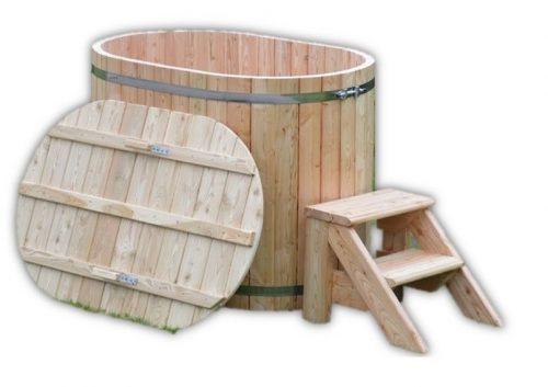 Oval Vildmarksbad i træ til 2 personer