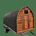 Udendørs Igloo Sauna På Traileren Mobil Harvia Ovn Med Omklædningsrum (1)