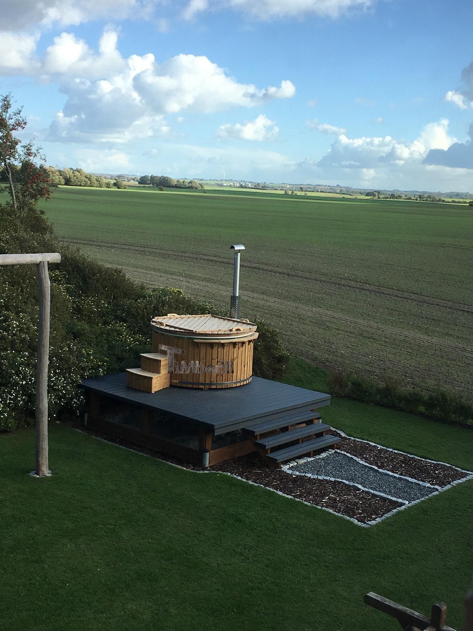 Vildmarksbad i glasfiber Termotræ med integreret ovn Wellness Royal Lars Stenderup Danmark