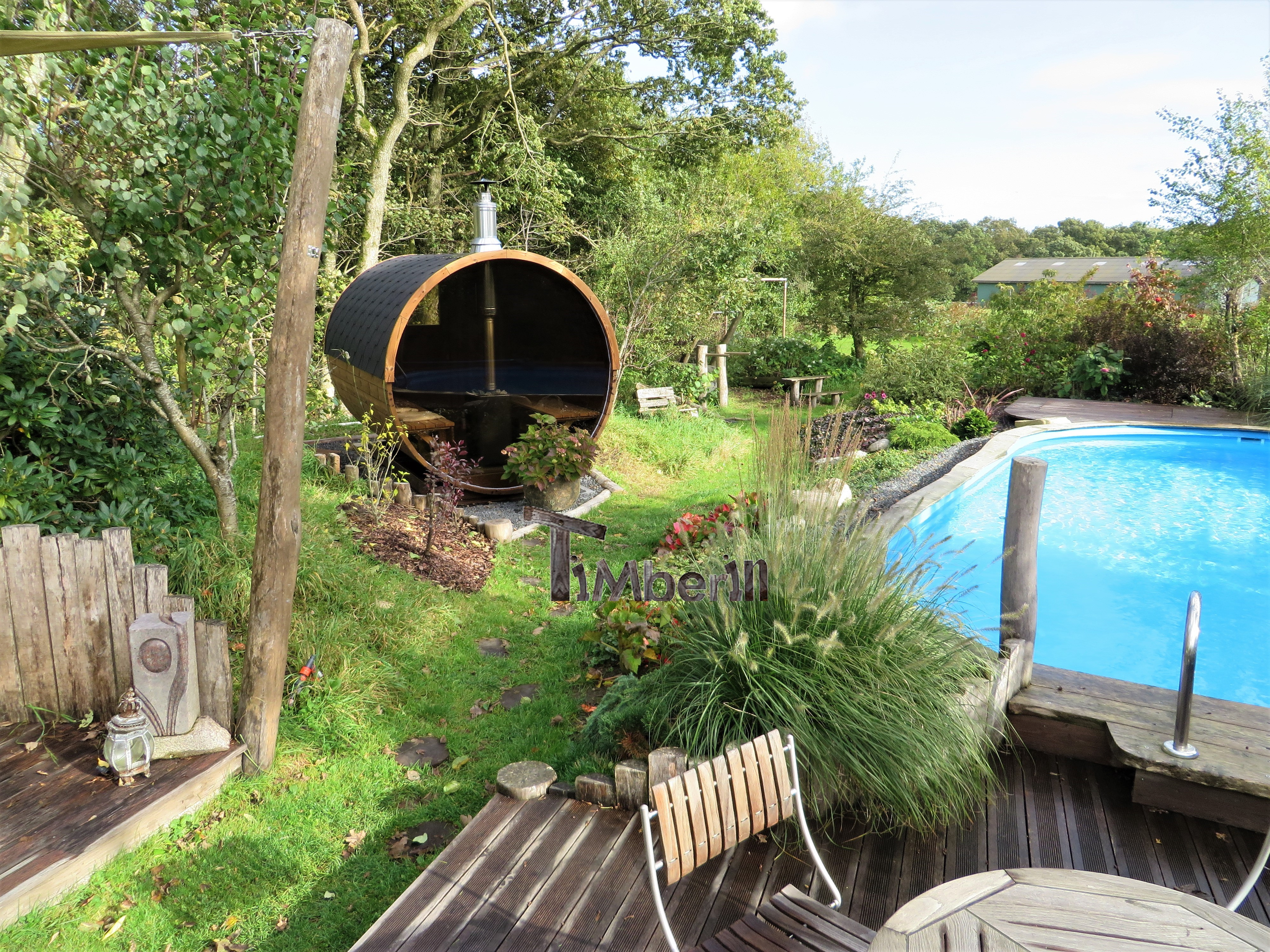 Udendørs sauna tønde i træ til haven Ole Nibe Denmark 4